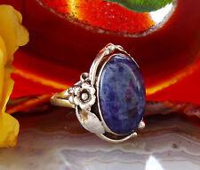 Anello Argento Sterling 925 Sodalite Blu Riproduzione Indiani Nativi Americani