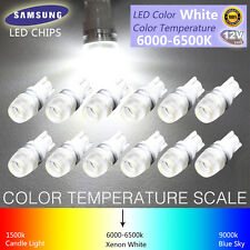 12pcs T10 Wedge Samsung High Power 1W LED Light Bulbs Xenon White 192 168 194