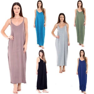 New Women Ladies Cami Strappy Summer Jersey Midi Sleeveless Long Maxi Dress 8-26