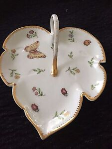 AUTHENTIC I. Godinger & Co Leaf Shaped Candy Dish With Handle 6.5in X 7.5in