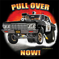 Pull Over Now Classic Police Hot Rat Rod Car Auto T-Shirt Tee