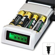 LCD 4 Slot Battery Charger For AA / AAA Ni-MH / Ni-Cd Rechargeable Batteries US