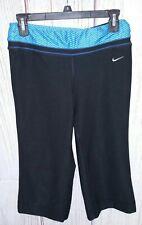 Nike FitDry Small S Black w/Blue ZigZag Waistband Capri Straight Leg Yoga Pants