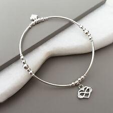 925 Sterling Silver Stretch Skinny Stack Infinity Heart Charm Noodle Bracelet
