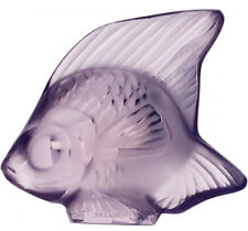 Factory New Lalique France Fish Sculpture in 'Lilac' w/ Box
