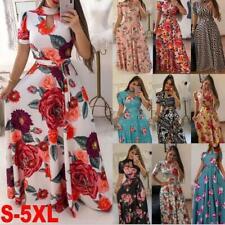 Women's Summer Boho Floral flower short Sleeve Maxi Dresses Ladies party Dress