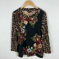 Swish Womens Blouse Top 16 Plus Multicoloured Animal Print Long Sleeve