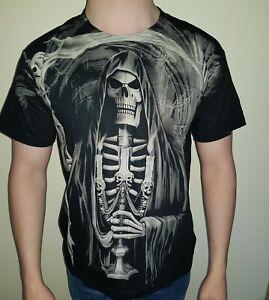 Skeleton with Candlestick T-Shirt Graphic Design Rock Cool Biker