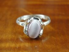 Silver 925 Ring Size 4 1/2 Pink Cat's Eye Look Stone Mexico Sterling