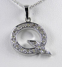 """14KT Genuine Diamond Initial """"Q"""" With 14KT Chain"""