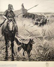 GRAVURE Fernand CORMON Âge du fer les gaulois 25,2x22,5cm Alfred BOILOT