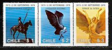 1976 Chile strip of 3 stamps 3rd anniversary of Military Junta in unmounted mint