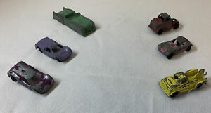 lot of 6 antique small toy cars ~ one MIDGET, the rest unbranded ~ 1940s-1960s?