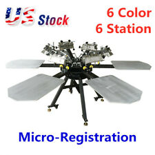 6 Color 6 Station Micro-Registration Silk Screen Printing Machine -US!
