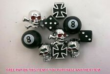 SET 5 PAIRS BMX/BIKE VALVE CAPS;SKULL, DA BOMB, DICE, NO 8, CROSSBONES SALE 75%