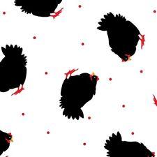 Benartex Henrietta Hen by Kanvas 8594 09 White Tossed Hens Cotton Fabric BTY