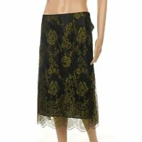 NANCY MAC Skirt Black Green Floral Lace Slip Size 2 UK 12 JF 234