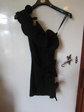 Unusual ASOS One Shoulder Stretch Cotton Little Black Dress in Size 6