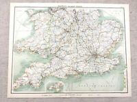 1890 Antique Railway Map of England South Rail Routes 19th Century Original