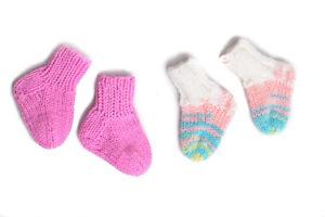 Newborn handmade acrylic socks wool socks baby clothes unique knit sock set girl