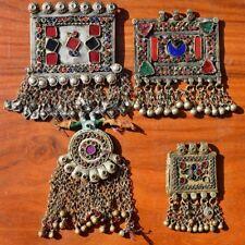 Kuchi Pendants afghan tribal Banjara 4X Tassels Jingle Bell Chain Boho Statement
