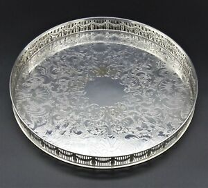 """LARGE ROUND FLORAL CHASED DETAIL GALLERY DRINKS TRAY 13"""" SILVER PLATE ON COPPER"""
