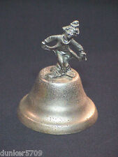 Metal Hand Bell With Curtsying Clown Metal Handle 4 Inches High