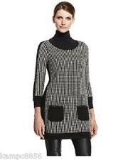 New M&S Autograph Black & Beige Wool Blend Jumper Tunic Dress Sz UK 12