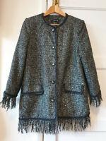 RARE Zara Boucle Tweed Fantasy Jacket Blazer Frayed Buttons Sequins Sparkle M
