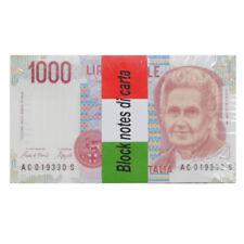Block Notes, Banconote finte 1000 Lire - 100 fogli a righe - blocco per scherzi