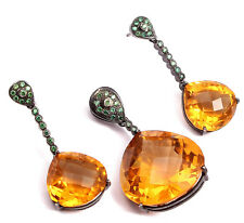 Citrine Gemstone Pave Jewelry Sterling Silver Pendant with Earring 45 mm