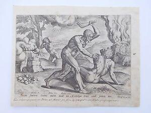 Authentic Renaissance 16th Century Copper Engraving Cain Slaying Abel J Sadeler!