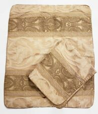 "Set Of 2 Gold & Beige Embroidered Pillow Shams 25x20"" w/ 3"" Flange"