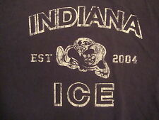 NHL Indiana Ice National Hockey League Fan Blue Distressed T Shirt L