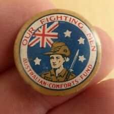 """WW11 AIF AUSTRALIAN COMFORT FUNDS A.C.F """"OUR FIGHTING MEN """" BUTTON DAY BADGE"""