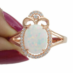 Oval White Opal Simulated Diamond Halo Cocktail Ring 14K Rose Gold Over