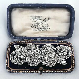 VINTAGE ART DECO SIGNED NYMPH SPARKLING MARCASITE DUETTE CLIP-MATE PIN BROOCH
