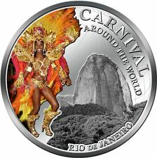 Carnival Around World Rio Brazil silver plated coin PL Fiji 2012