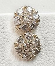 14k Solid Yellow Gold 0.45 TCW Diamond Flower Cluster Stud Earrings 6 MM Unisex