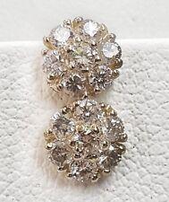 14k Solid Yellow Gold 0.45 TCW Diamond Flower Cluster Stud Earrings 6 MM Unisex