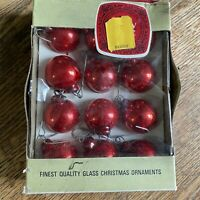 VINTAGE SHINY BRITE SMALL RED ORNAMENTS Christmas For Small Tree Box of 12