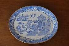 Antique Copeland Blue & White Willow Pattern Platter c. 1883