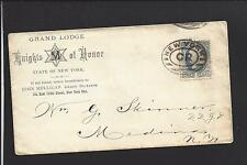 """NEW YORK, NEW YORK COVER.  ADVT: GRAND LODGE, """"KNIGHTS OF HONOR."""""""