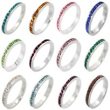 3mm Stackable Sterling Silver Eternity Band Ring w/ Colored Crystals Birthstones