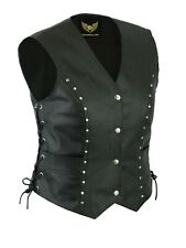 Women Vintage Studded Ladies Biker real leather waistcoat vest Laced Up Style