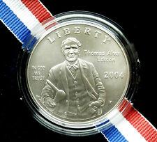 2004-P Edison UNC silver Dollar. Case & COA