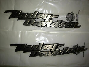 Genuine Harley Heritage Fuel Gas Tank Set Emblems Badges Brushed Aluminum OEM