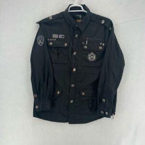 Parish Nation Mens Shirt Black Long Sleeve Button Flap Pockets Collared XL