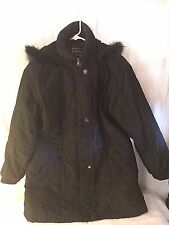 GALLERY Coat Women's Black Above Knee Length Hood Size M Medium Parka Jacket