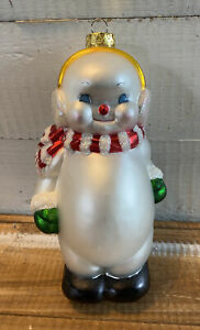"Vintage Large Blown Glass Snowman Christmas Ornament 6.75"" Tall"